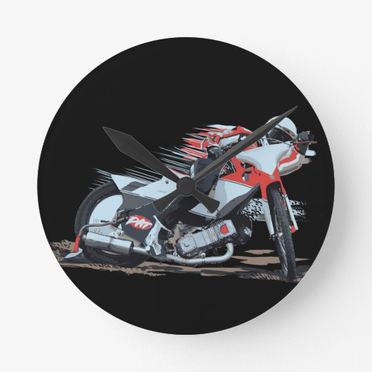 Fast Red Speedway Motorcycle Round Clock