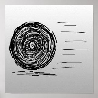 Fast Rush Symbol in Black on Gray Print