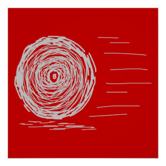 Fast Rush Symbol in Gray on Red Print