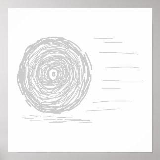 Fast Rush Symbol in Gray on White Print