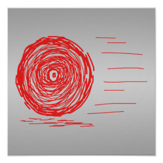 Fast Rush Symbol in Red on Gray Posters