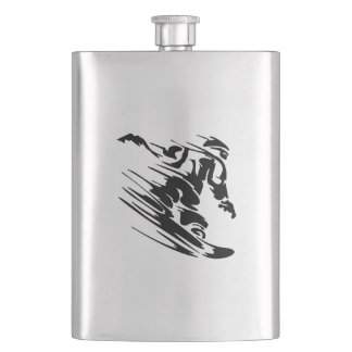 Fast Snowboarder Hip Flask