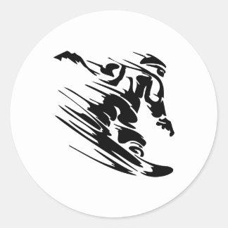 Fast Snowboarder Round Sticker