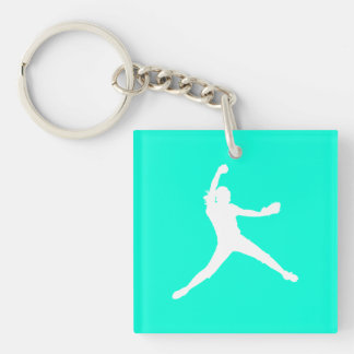 Fastpitch Keychain w/Name Turquoise
