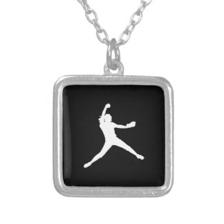 Fastpitch Silhouette Necklace Black
