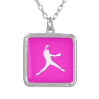 Fastpitch Silhouette Necklace Pink