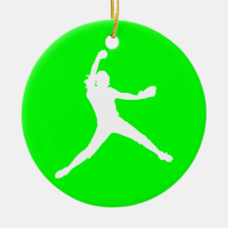 Fastpitch Silhouette Ornament Green