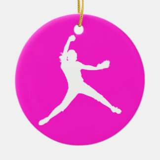 Fastpitch Silhouette Ornament Pink