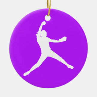 Fastpitch Silhouette Ornament Purple
