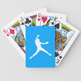 Fastpitch Silhouette Playing Cards Blue