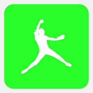 Fastpitch Silhouette Sticker Green