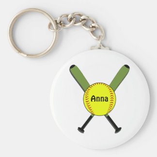 Fastpitch Softball and Crossed Bats Key Ring