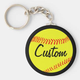 Fastpitch Softball Black or Custom Color & Text Key Ring