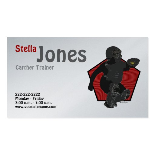 Fastpitch Softball Catcher's Profile Cards Business Card Templates