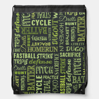 Fastpitch Softball Chalkboard Terms Drawstring Backpacks