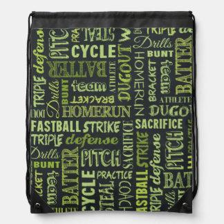 Fastpitch Softball Chalkboard Terms Drawstring Backpacks