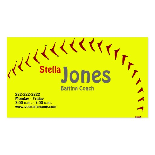 Fastpitch Softball Coach's Profile Cards Business Card
