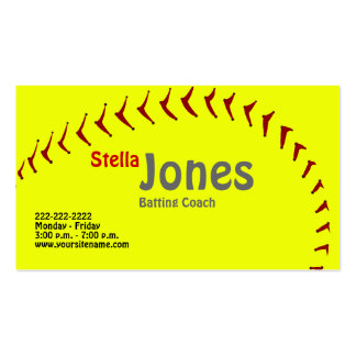 Fastpitch Softball Coach's Profile Cards Pack Of Standard Business Cards
