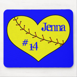 Fastpitch Softball Heart Mouse Pad