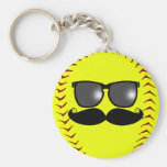 Fastpitch Softball Moustache Keychain