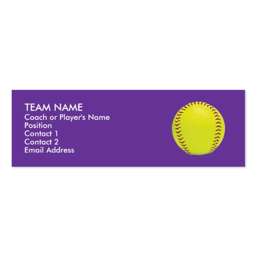 Fastpitch Softball Profile Cards Business Card