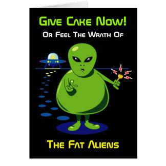 Fat Alien Invasion Birthday Card