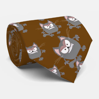 Fat Angry Grey Kitty Cat Tie