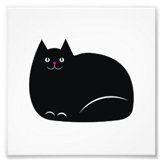Fat Black Cat Art Photo