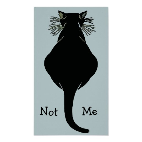 Fat Black Cat Not Me Poster