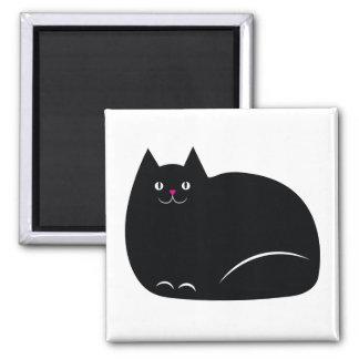 Fat Black Cat Square Magnet