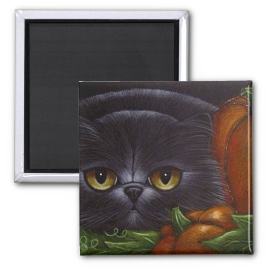 FAT BLACK PERSIAN CAT Magnet