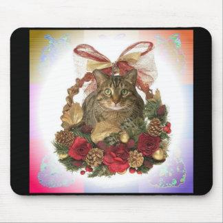 Fat Cat Christmas Basket Mouse Mat