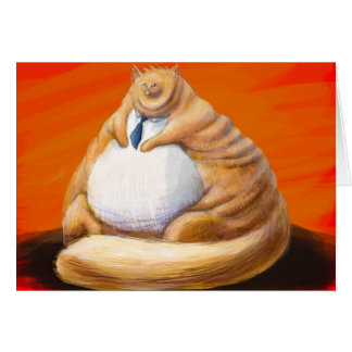 Fat cat in blue tie card