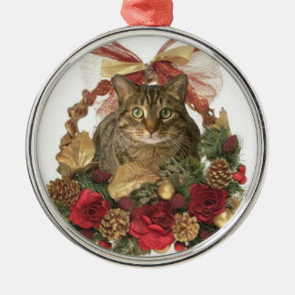 Fat cat in Christmas basket Christmas Ornament
