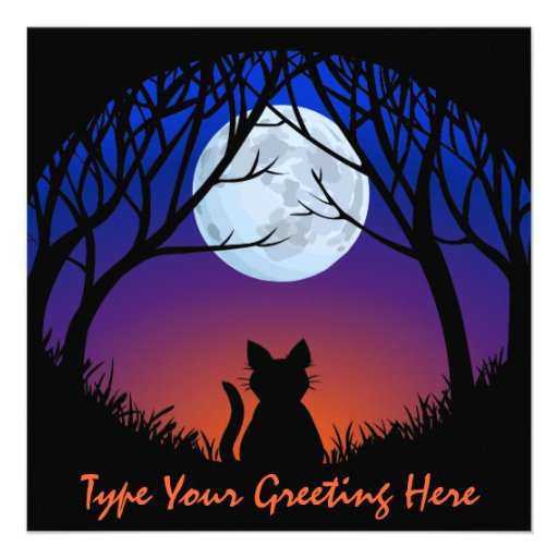 Fat Cat Invitations Personalized Halloween Cards