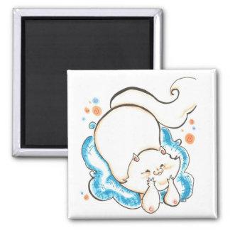 fat cat luv square magnet