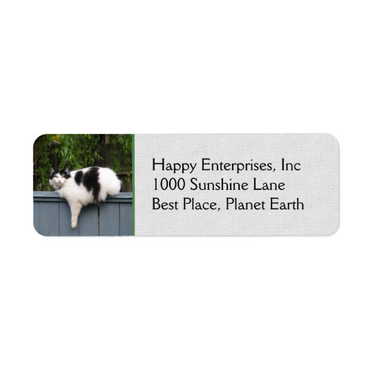 Fat Cat On Fence Return Address Label