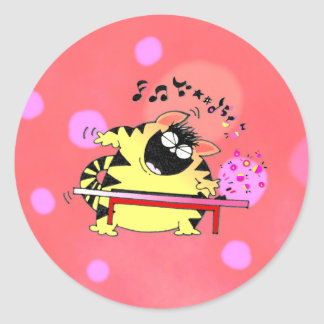 Fat Cat Play Keyboard Round Stickers
