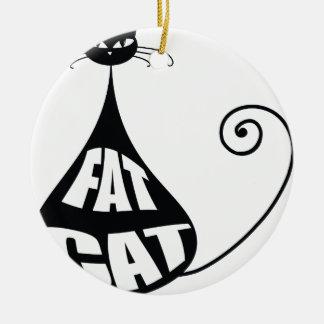 Fat Cat Round Ceramic Decoration