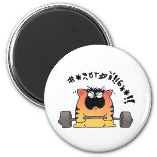 Fat Cat Weight Lift 6 Cm Round Magnet