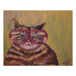 Fat Cat With Glasses Oil Painting Print