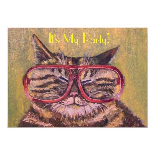 Fat Cat With Glasses Party Invite 13 Cm X 18 Cm Invitation Card