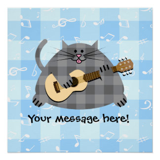 Fat Checkered Country Kitty Cat Acoustic Guitar