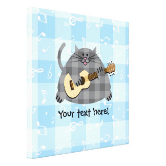 Fat Checkered Country Kitty Cat Acoustic Guitar Canvas Print