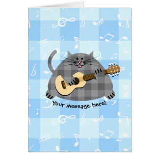 Fat Checkered Country Kitty Cat Acoustic Guitar Card
