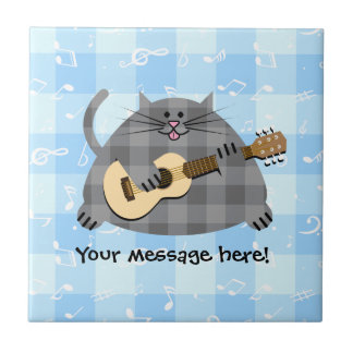 Fat Checkered Country Kitty Cat Acoustic Guitar Small Square Tile