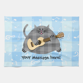 Fat Checkered Country Kitty Cat Acoustic Guitar Tea Towel