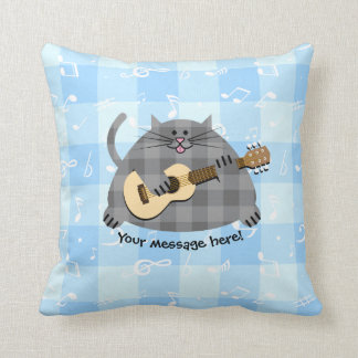 Fat Checkered Country Kitty Cat Acoustic Guitar Throw Pillow
