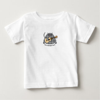Fat Checkered Gray Kitty Cat Acoustic Guitar Baby T-Shirt