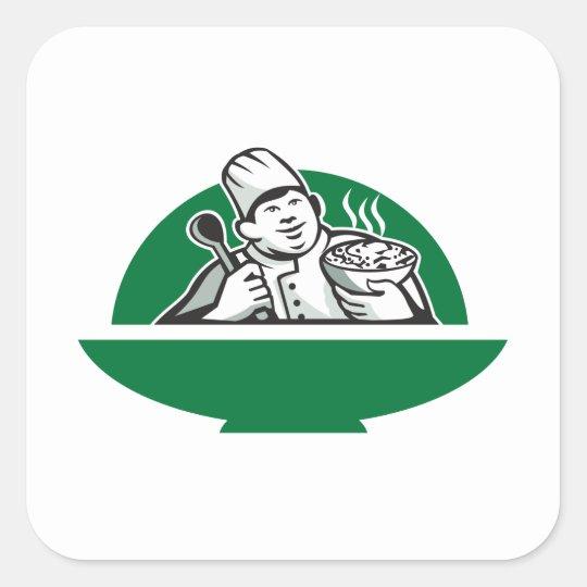 Fat Chef Cook Holding Bowl Spoon Retro Square Sticker